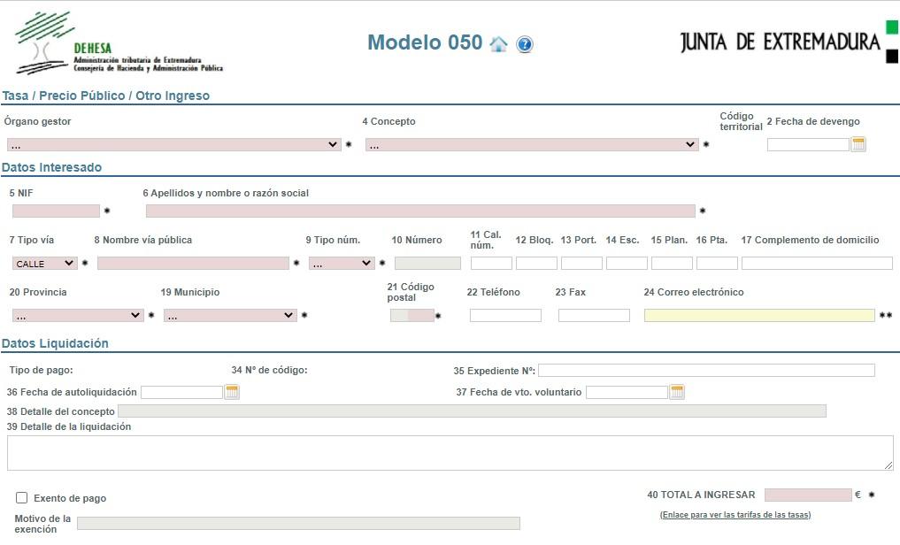 Modelo 050 de la Junta de Extremadura