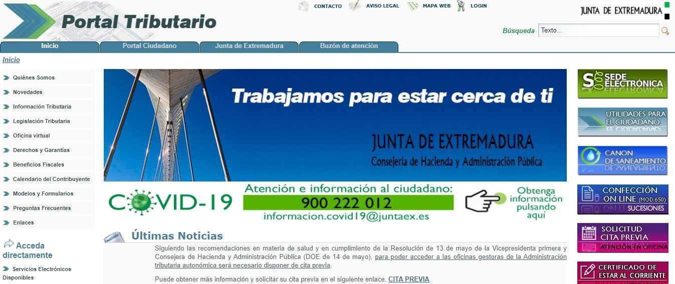 Portal tributario de la Junta de Extremadura