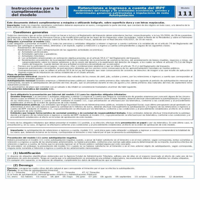 modelo 111 instrucciones