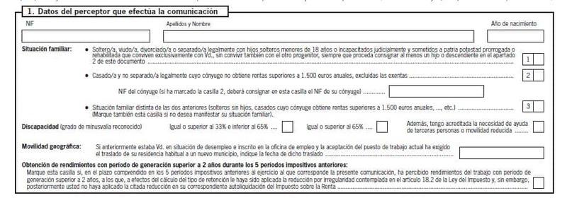 Modelo 145 España apartado 1