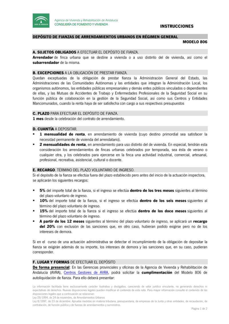 planilla completa Andalucía del Modelo 806