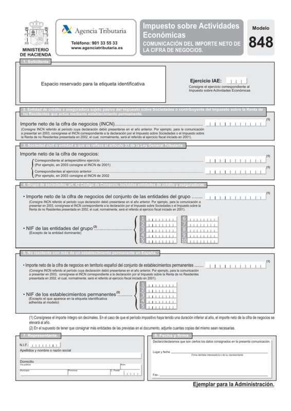 Modelo 848: Impuesto sobre Actividades Económicas 2