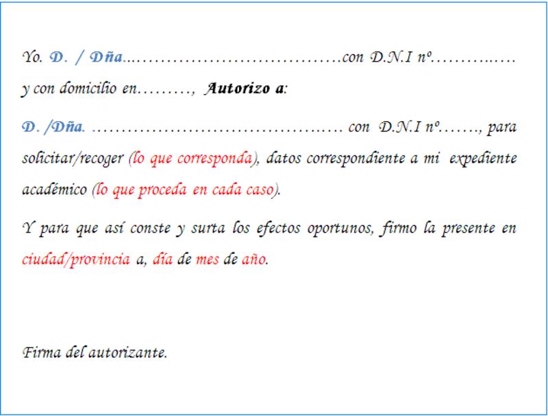 Modelo de carta de autorización para trámites administrativos