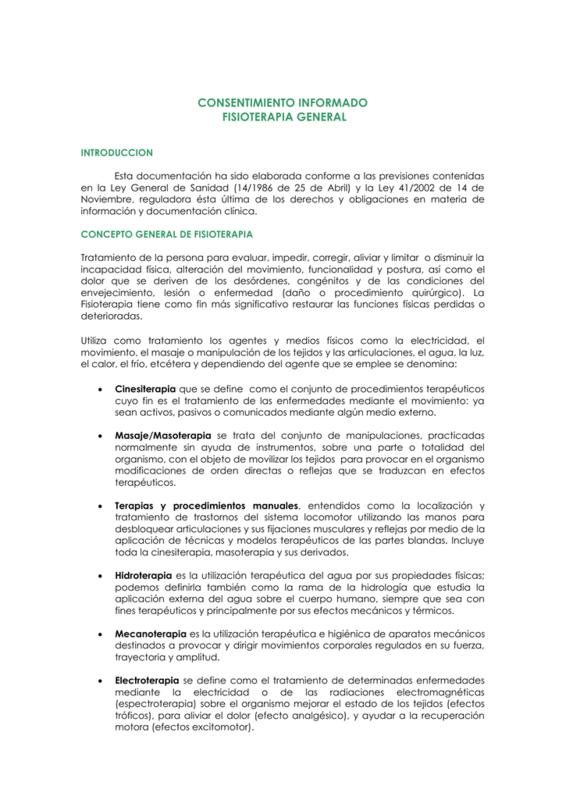 Modelo de consentimiento informado fisioterapia
