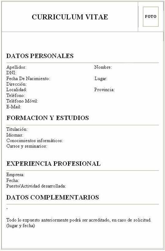 Modelo curriculum vitae España