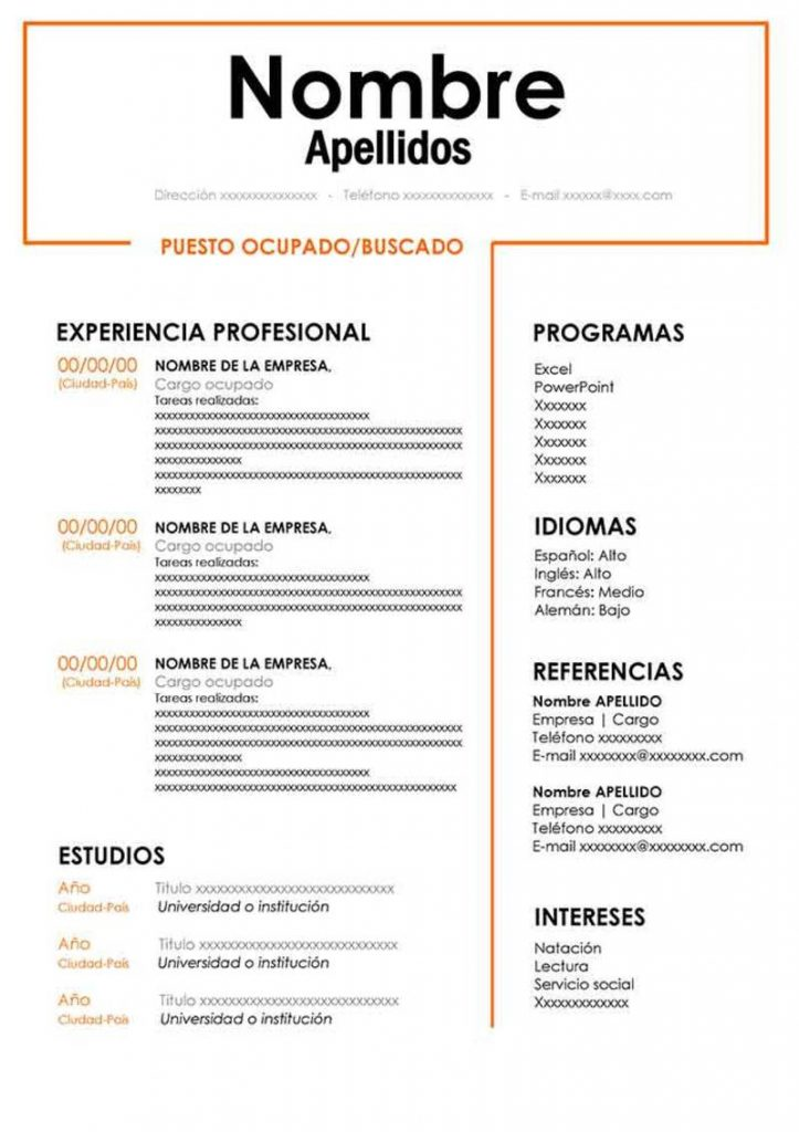 Modelo de currículo vitae word