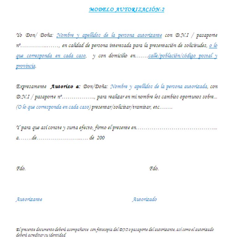 Modelo autorización DGT