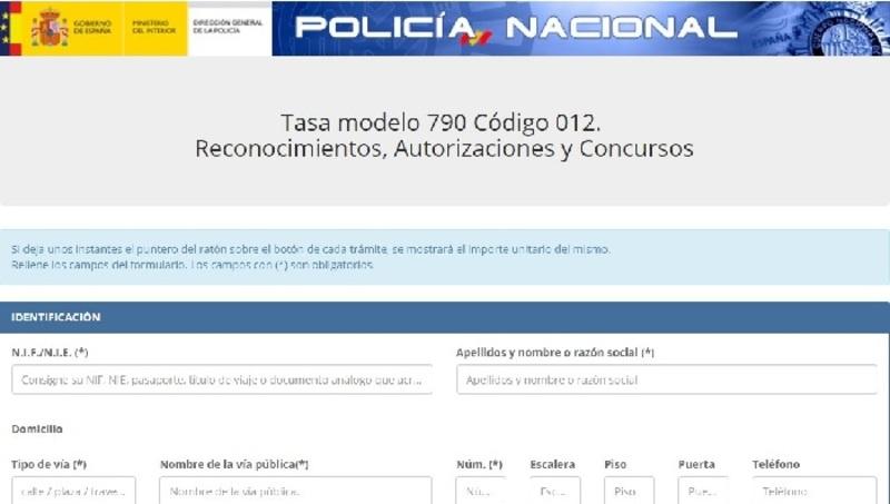 Modelo de tasa policía nacional
