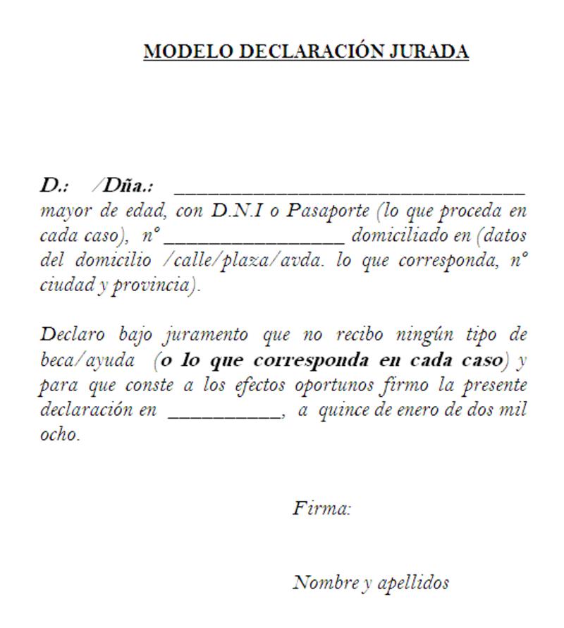 ejemplo de Modelo declaración jurada