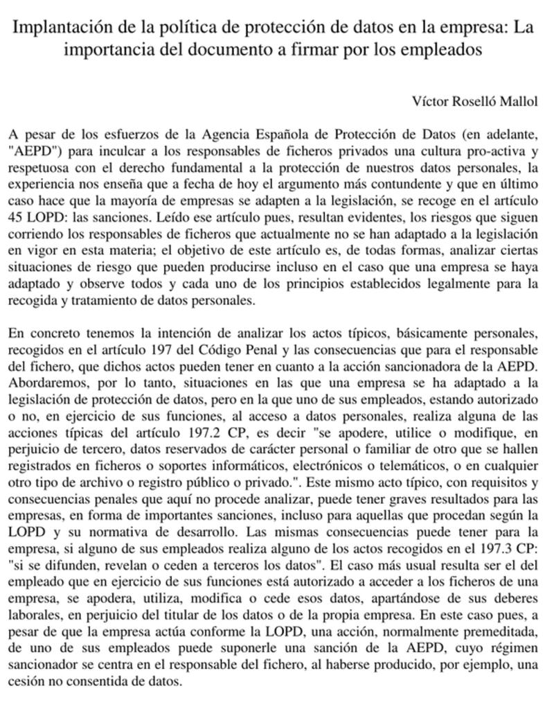 implementacion politica del Modelo documento protección de datos
