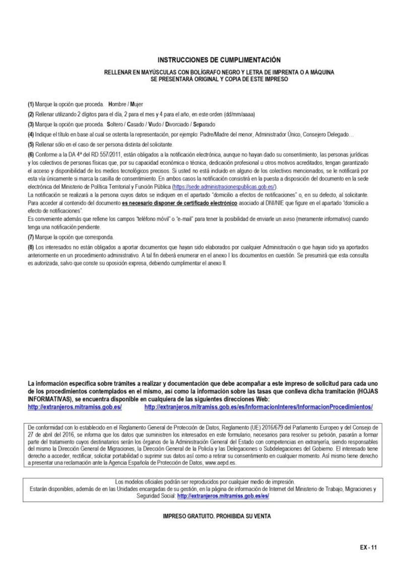 requisitos del Modelo EX11