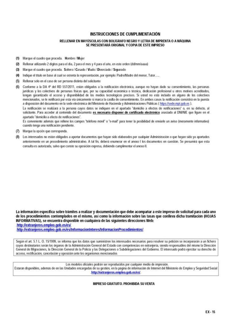 requisitos del Modelo EX15