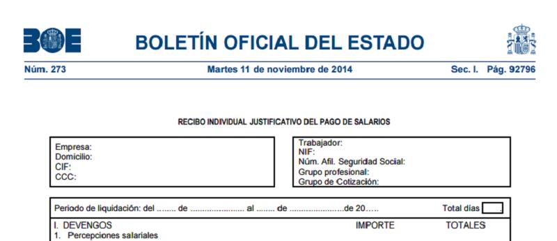 boletin oficial del estado delModelo nómina