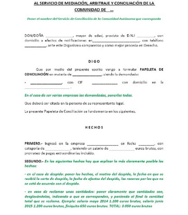 ejemplo del Modelo papeleta de conciliación
