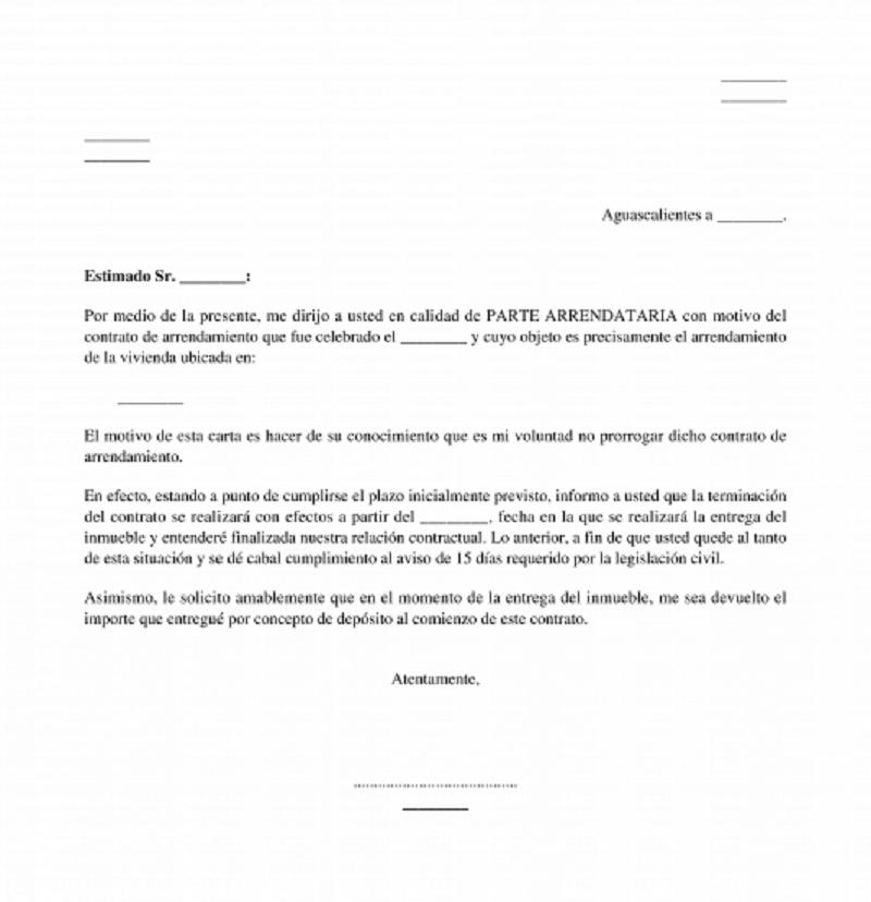 Contrato del Modelo preaviso fin contrato de alquiler