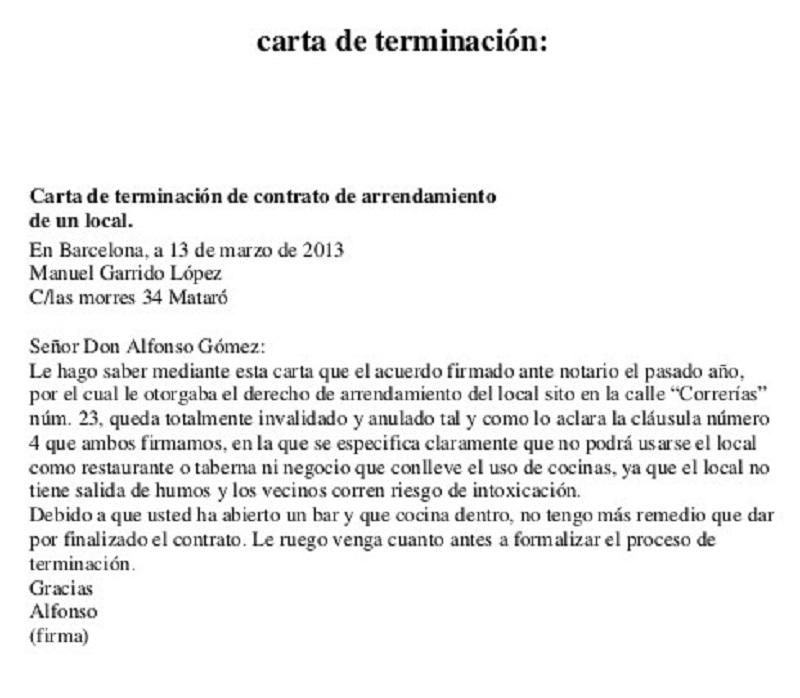 carta de terminacion del Modelo preaviso fin contrato alquiler