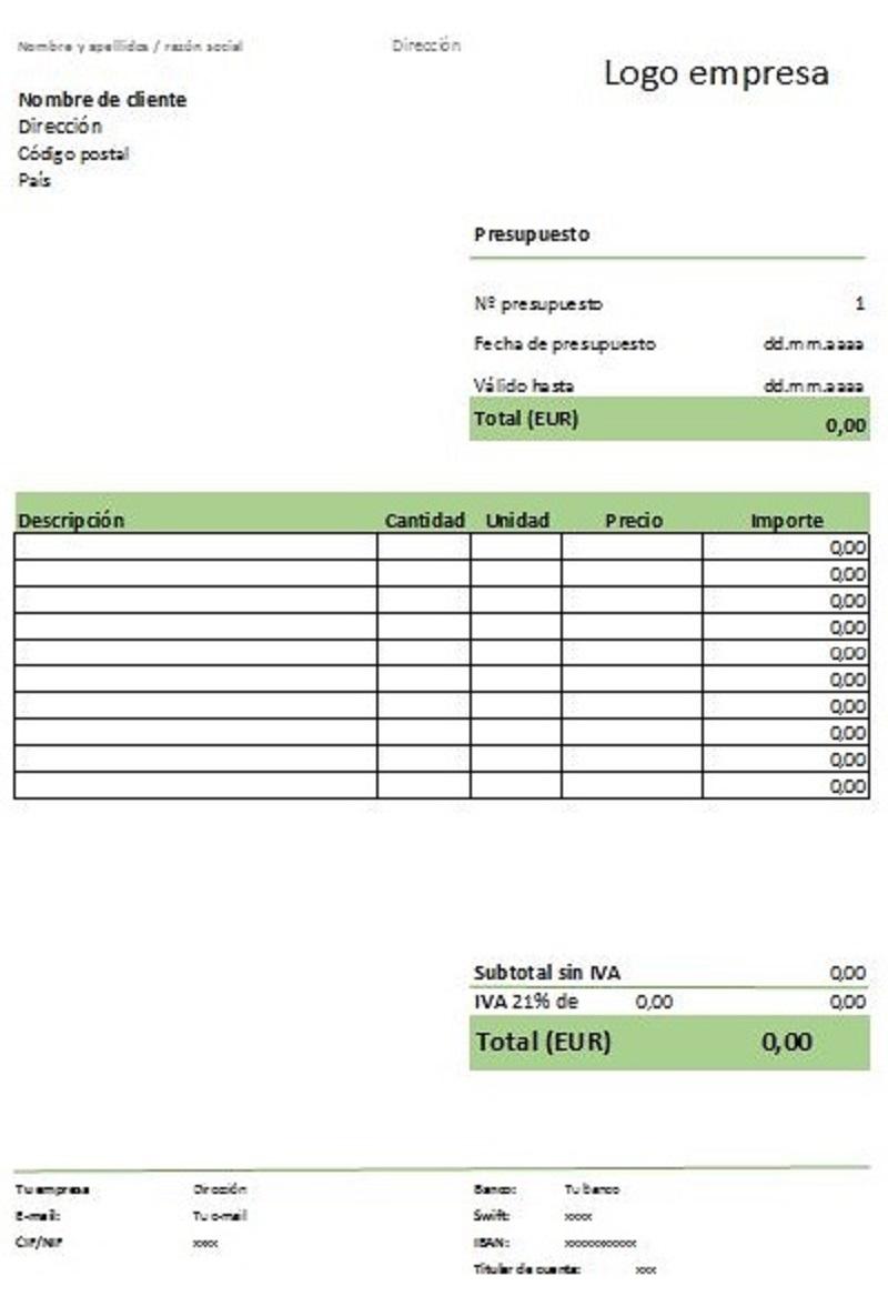 ejemplo de Modelo presupuesto