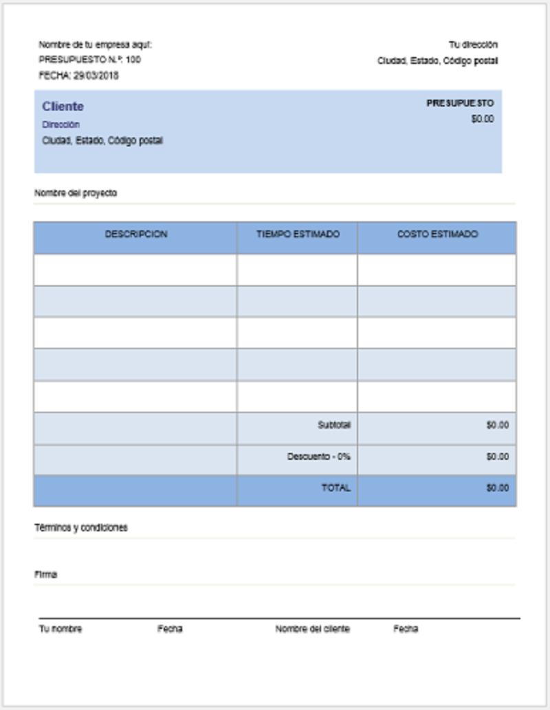Modelo presupuesto en word