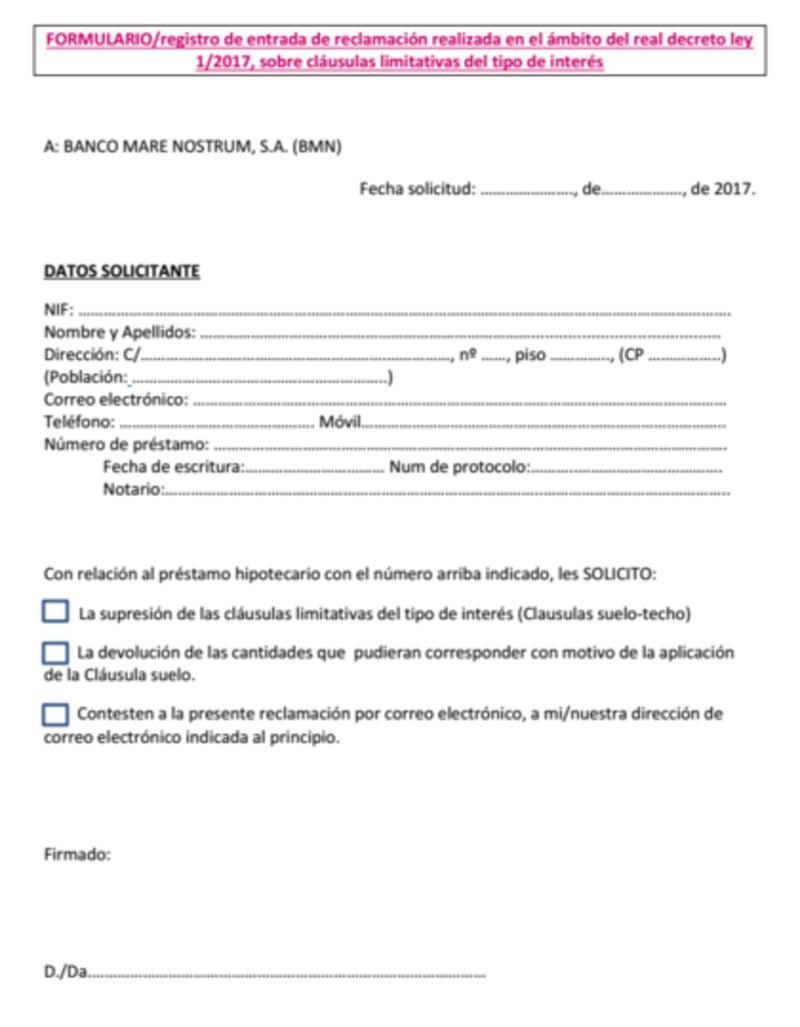 BMN del Modelo reclamación cláusula suelo