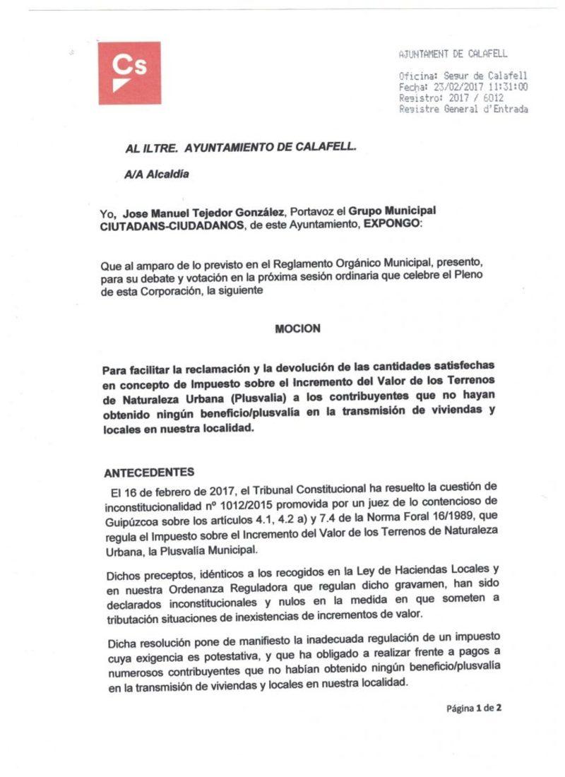 Documento del Modelo reclamación plusvalía municipal