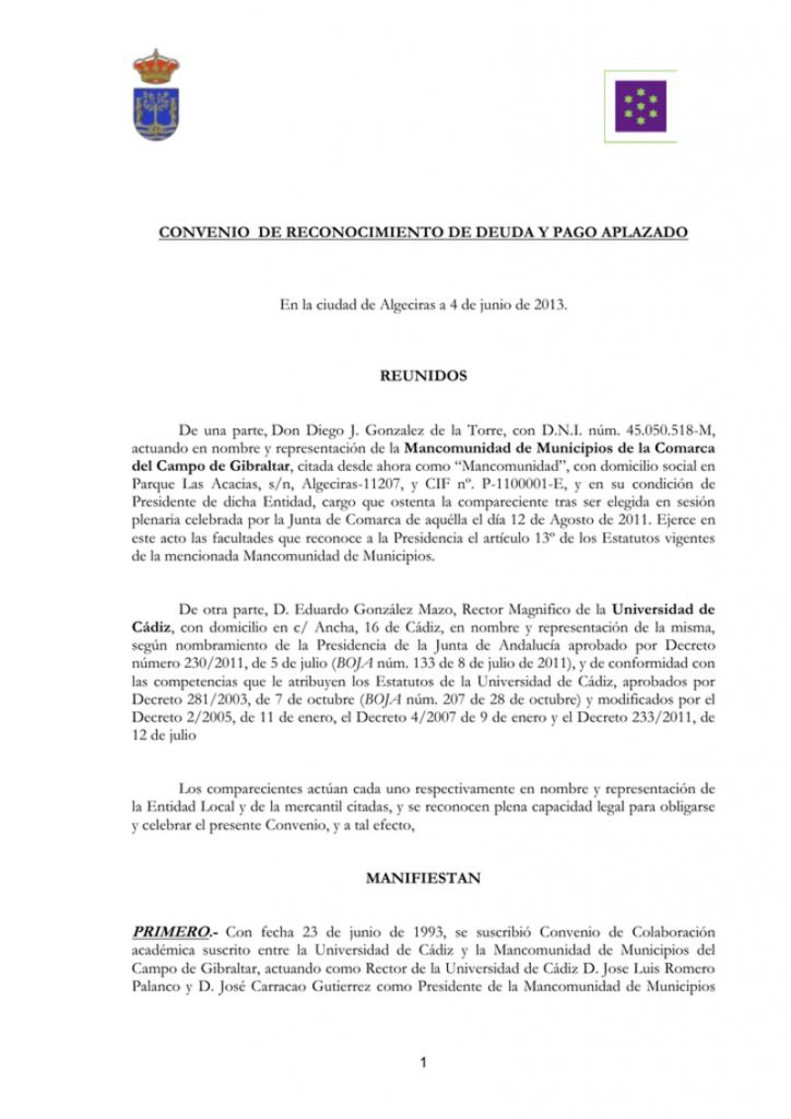 documento del Modelo reconocimiento de deuda