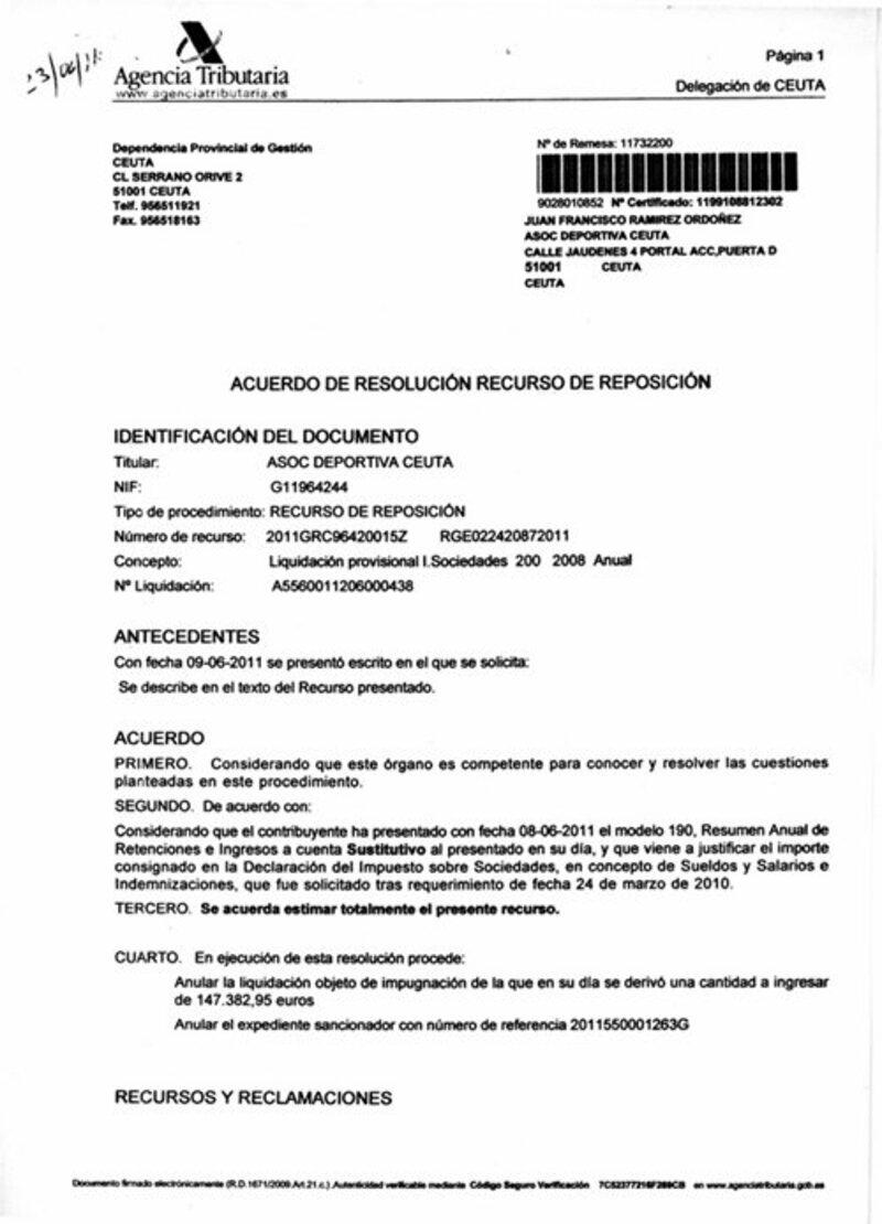 plantilla del Modelo recurso de reposición agencia tributaria
