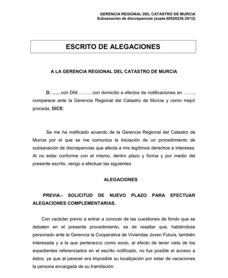 Ejemplo de documento del Modelo subsanación discrepancias catastro