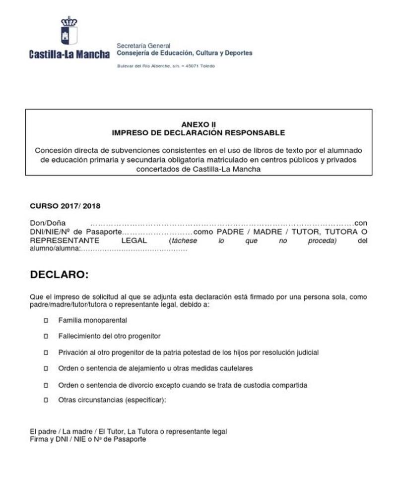 documento del Modelo declaración responsable