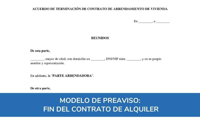Modelo de Preaviso de fin del contrato de alquiler